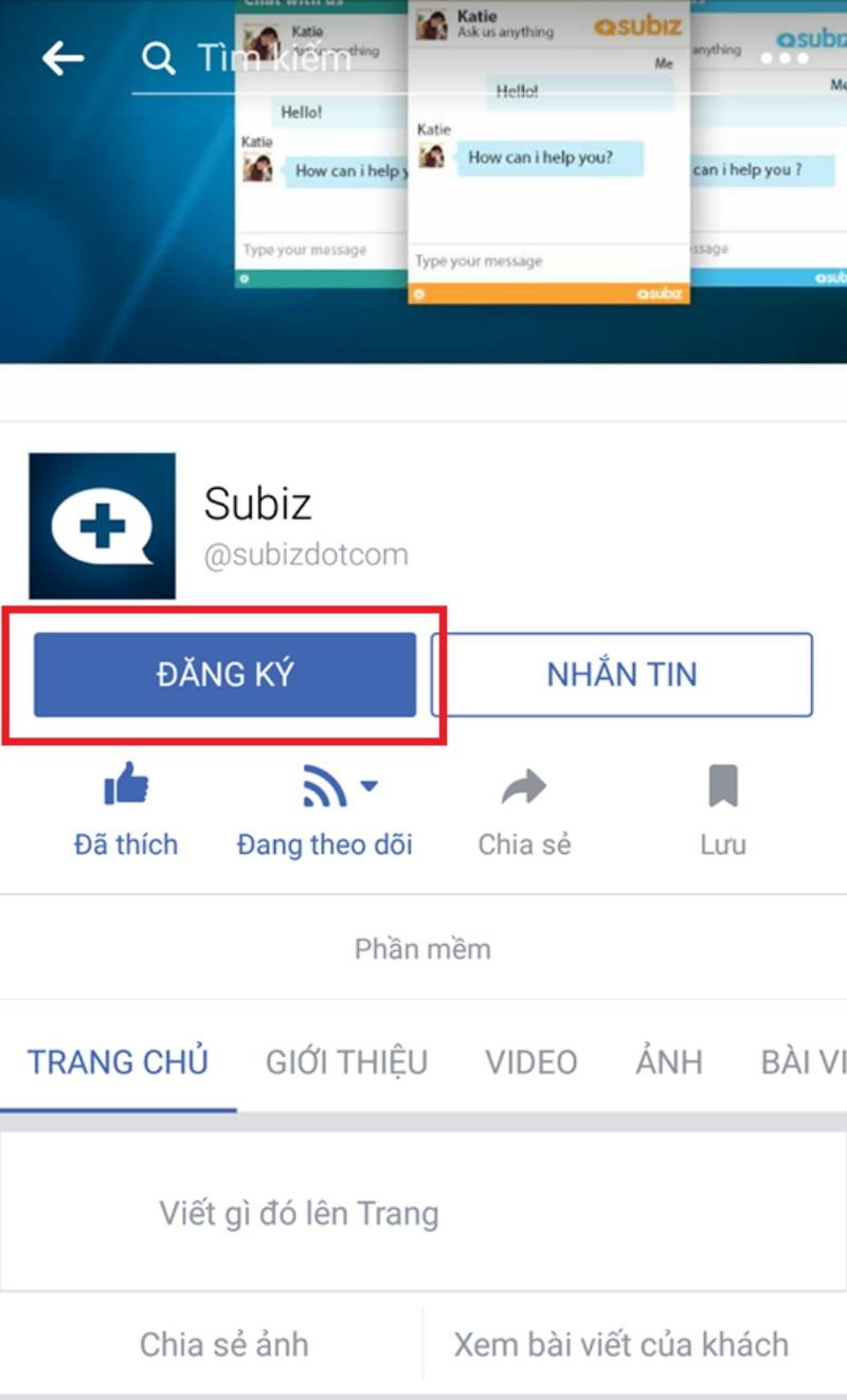 """Subiz sử dụng nút kêu gọi hành động """"Đăng ký"""" cho dịch vụ ứng dụng live chat."""