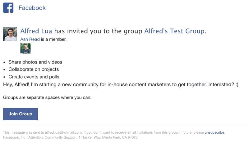 Mẫu ví dụ của một lời mời tham gia nhóm kèm lời nhắn.