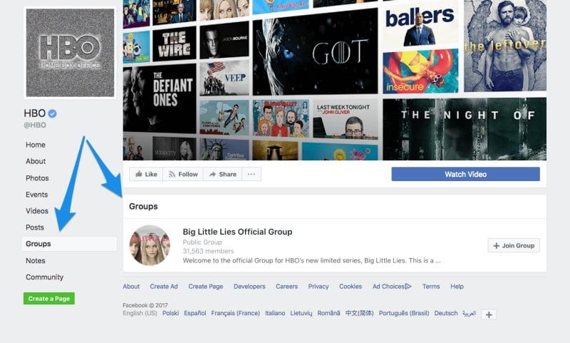 Tab Group của Fanpage HBO khi liên kết với nhóm Big Little Lies Official Group.