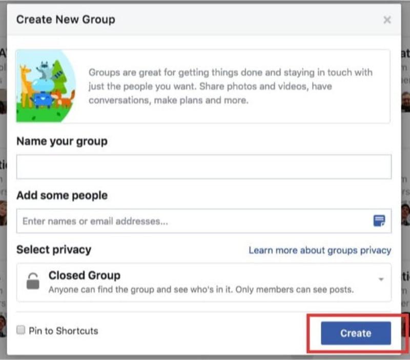 Click vào create để tạo nhóm.