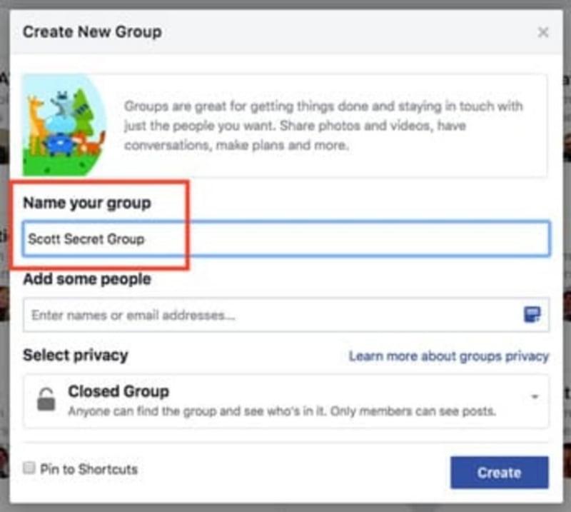 Điền tên nhóm khi tạo nhóm trên facebook.