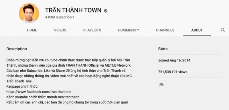 About của kênh Youtube Trấn Thành Town – Lĩnh vực giải trí, nghệ thuật.