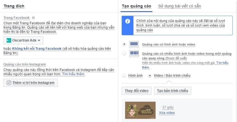 Bạn có thể lựa chọn các định dạng quảng cáo như Link, video, quay vòng.