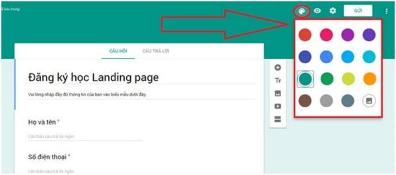 Bảng màu cho sẵn của Google.