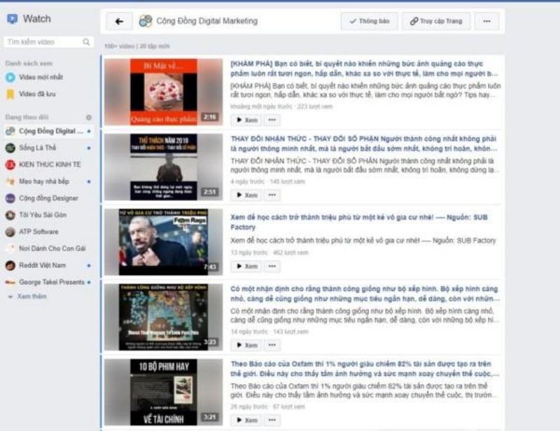 FaceBook Watch – Nền tảng hỗ trợ xem video của Facebook.