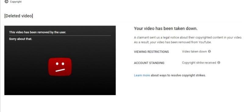 Vi phạm bản quyền video trên Youtube.
