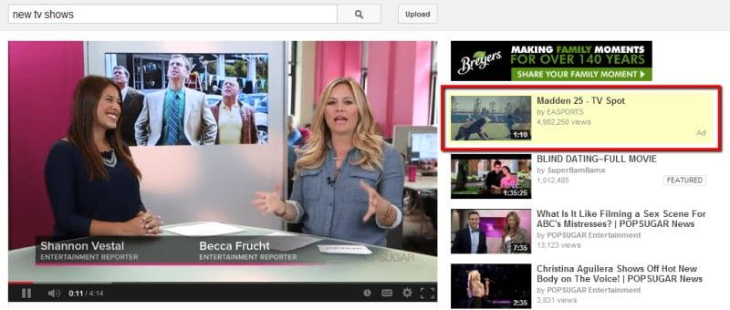 Quảng cáo hiển thị trên youtube